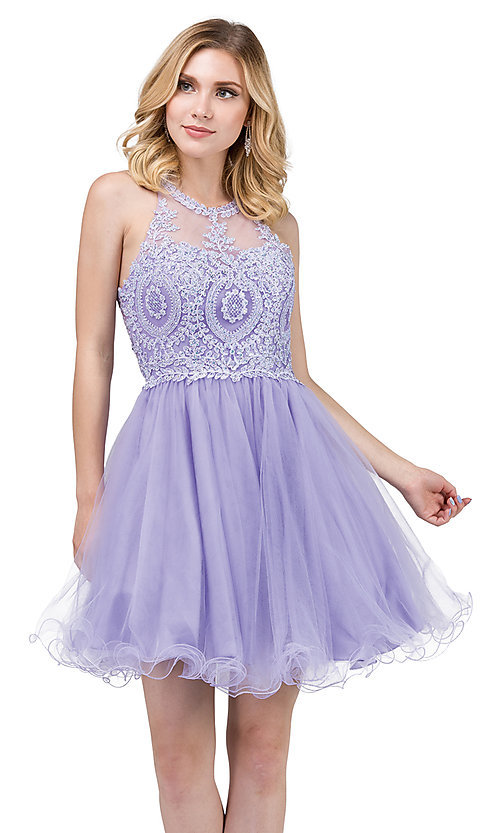 Image of high-neck babydoll fancy short homecoming dress. Style: DQ-21-2156 Detail Image 2