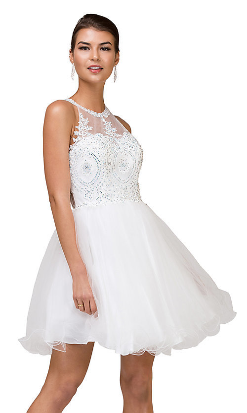 Image of high-neck babydoll fancy short homecoming dress. Style: DQ-21-2156 Detail Image 3
