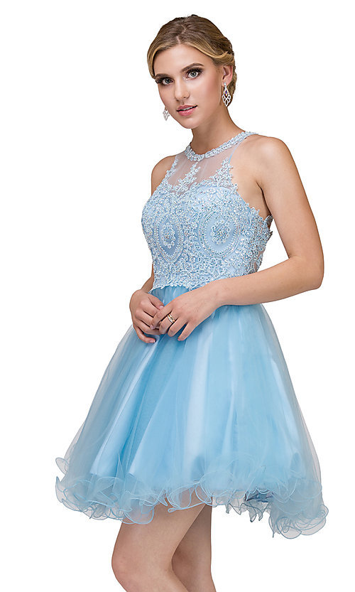Image of high-neck babydoll fancy short homecoming dress. Style: DQ-21-2156 Detail Image 4