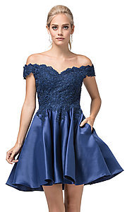 Image of off-the-shoulder short fancy homecoming dress. Style: DQ-21-3213 Detail Image 1