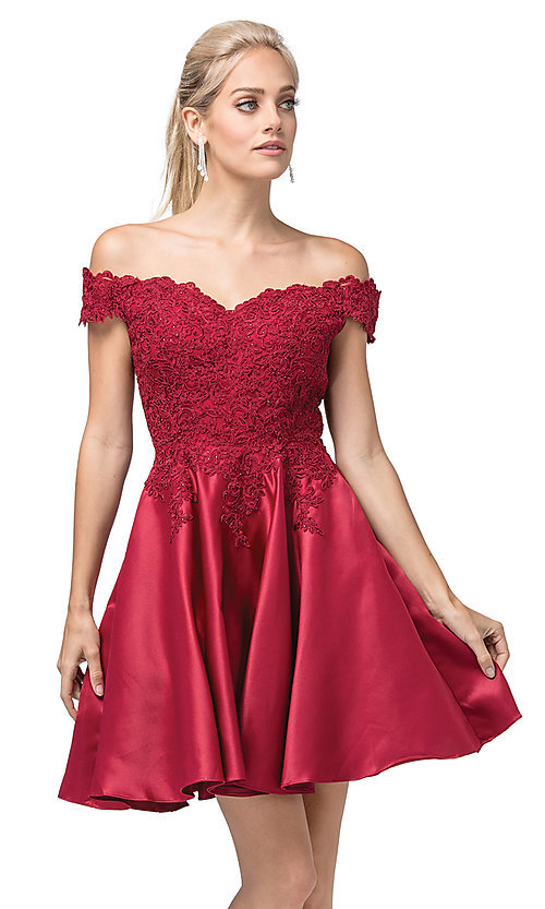 Image of off-the-shoulder short fancy homecoming dress. Style: DQ-21-3213 Front Image