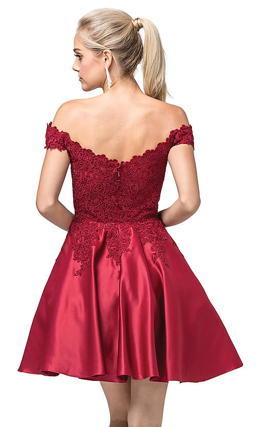 Image of off-the-shoulder short fancy homecoming dress. Style: DQ-21-3213 Back Image