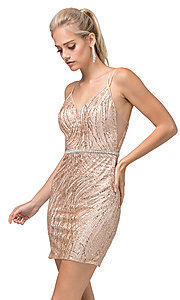Image of sexy glitter-embellished short tight party dress. Style: DQ-21-3225 Front Image