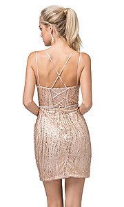 Image of sexy glitter-embellished short tight party dress. Style: DQ-21-3225 Back Image