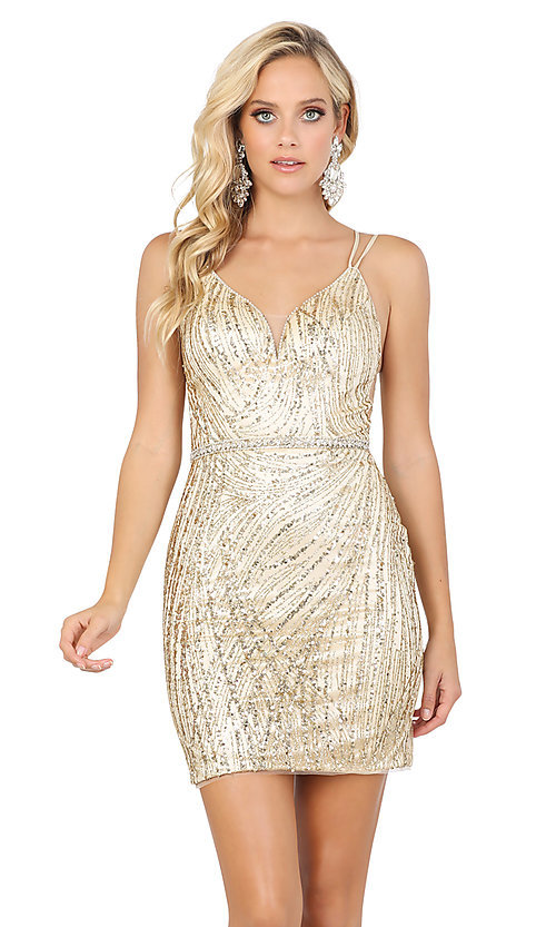 Image of sexy glitter-embellished short tight party dress. Style: DQ-21-3225 Detail Image 1