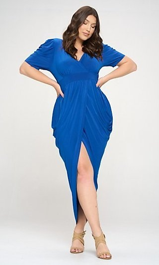 Plus-Size High-Low Tulip-Skirt Party Dress