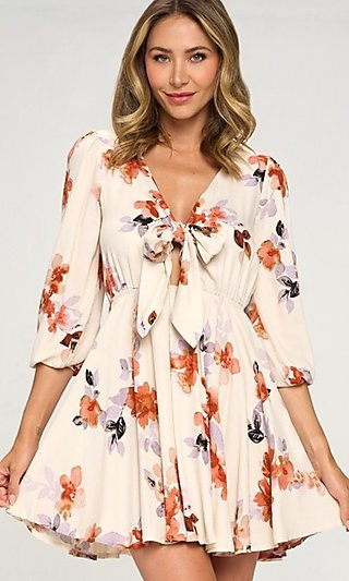 Sleeved Short Floral Print Front-Tie Party Dress