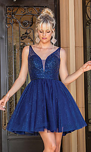 Image of sequin-bodice glitter short prom dress. Style: DQ-21-3266 Detail Image 2