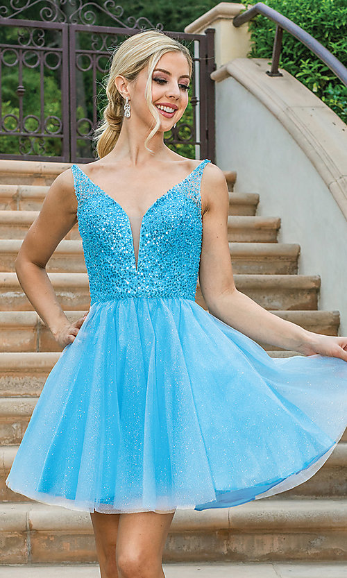 Image of sequin-bodice glitter short prom dress. Style: DQ-21-3266 Front Image