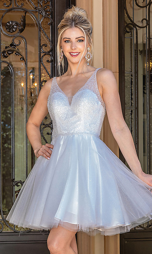 Image of sequin-bodice glitter short prom dress. Style: DQ-21-3266 Detail Image 1
