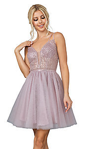 Image of sequin sheer-bodice short a-line party dress. Style: DQ-21-3268 Detail Image 1