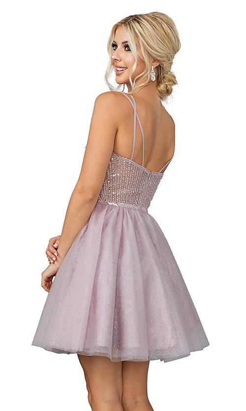 Image of sequin sheer-bodice short a-line party dress. Style: DQ-21-3268 Back Image