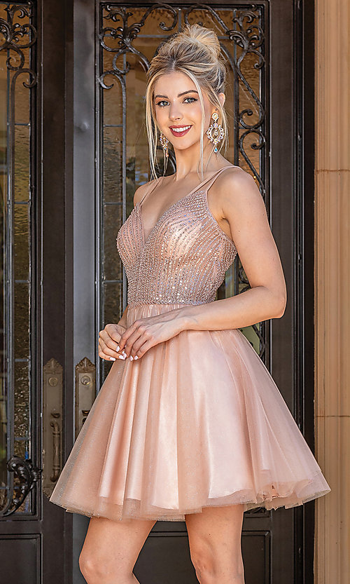Image of sequin sheer-bodice short a-line party dress. Style: DQ-21-3268 Front Image