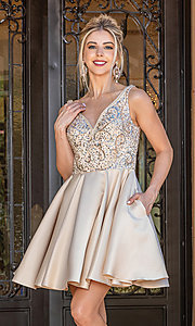 Image of short prom dress with sequin-embellished bodice. Style: DQ-21-3270 Detail Image 1