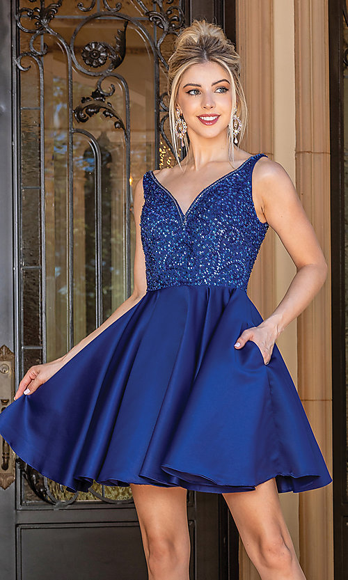 Image of short prom dress with sequin-embellished bodice. Style: DQ-21-3270 Front Image