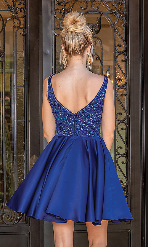 Image of short prom dress with sequin-embellished bodice. Style: DQ-21-3270 Back Image