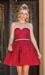 Image of beaded-waist strapless short party dress. Style: DQ-21-3271 Back Image