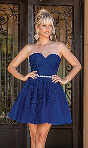 Image of beaded-waist strapless short party dress. Style: DQ-21-3271 Detail Image 2