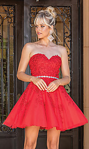 Image of beaded-waist strapless short party dress. Style: DQ-21-3271 Detail Image 3