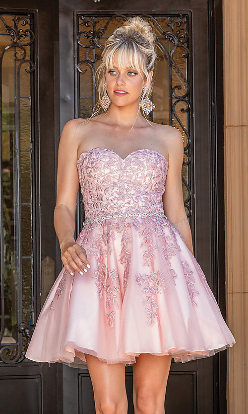 Image of beaded-waist strapless short party dress. Style: DQ-21-3271 Front Image