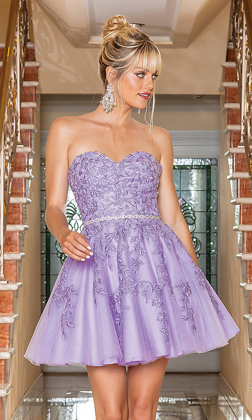 Image of beaded-waist strapless short party dress. Style: DQ-21-3271 Detail Image 1
