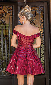 Image of off-the-shoulder burgundy red sequin party dress. Style: DQ-21-3277 Back Image