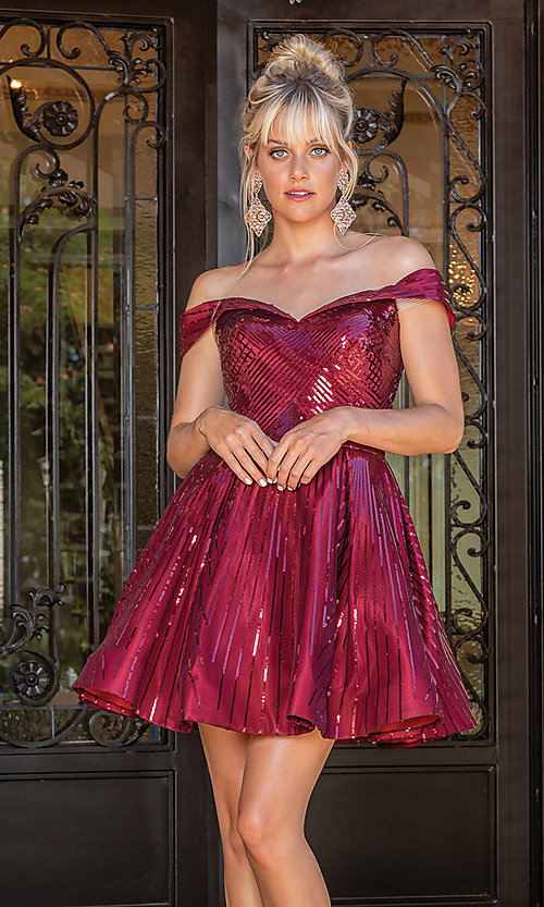 Image of off-the-shoulder burgundy red sequin party dress. Style: DQ-21-3277 Front Image