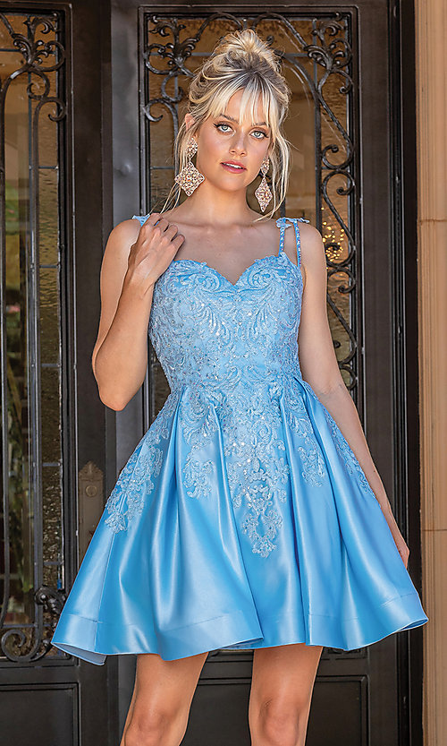 Image of blue short formal junior dress with embroidery. Style: DQ-21-3279 Front Image