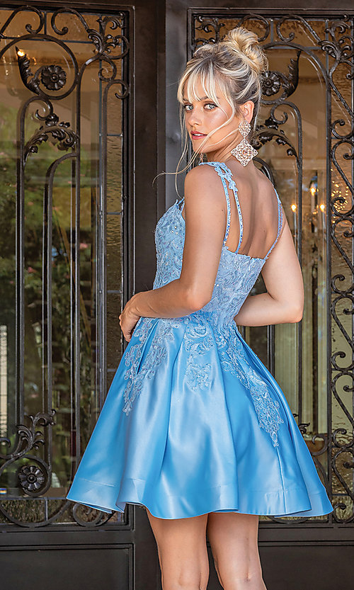 Image of blue short formal junior dress with embroidery. Style: DQ-21-3279 Back Image