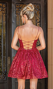 Image of glitter burgundy red short a-line prom dress. Style: DQ-21-3282 Back Image