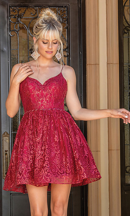 Image of glitter burgundy red short a-line prom dress. Style: DQ-21-3282 Front Image