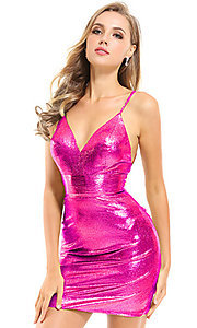 Image of metallic Ava Presley sexy short homecoming dress. Style: AVA-21-25934 Front Image