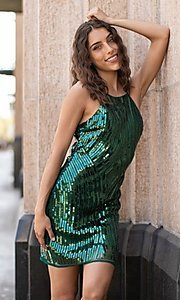 Image of fitted sequin short party dress. Style: FG-VRT-21-614-211799 Front Image