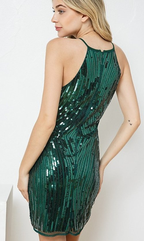 Image of fitted sequin short party dress. Style: FG-VRT-21-614-211799 Back Image