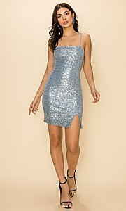 Image of short ice blue sequin party dress. Style: FG-CVS-21-LBD21169 Detail Image 2