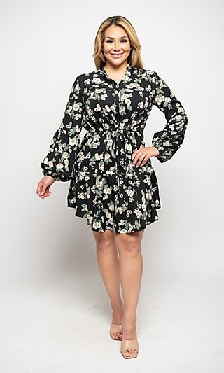 Casual Black Floral Plus-Size Sleeved Short Dress
