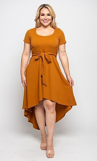 Mustard Yellow High-Low Plus-Size Casual Dress