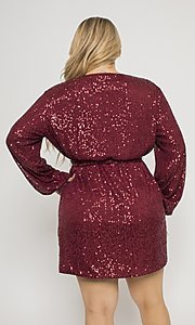 Image of plus-size short sequin holiday party dress. Style: FG-CRV-21-50D-072010121 Detail Image 2