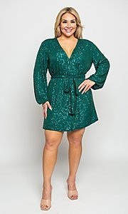 Image of plus-size short sequin holiday party dress. Style: FG-CRV-21-50D-072010121 Front Image