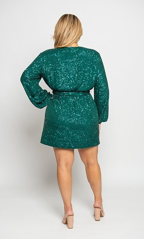 Image of plus-size short sequin holiday party dress. Style: FG-CRV-21-50D-072010121 Back Image