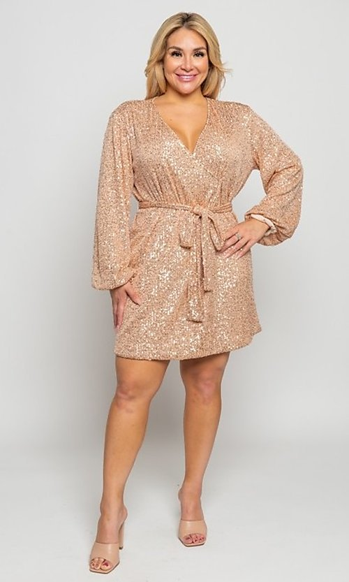 Image of plus-size short sequin holiday party dress. Style: FG-CRV-21-50D-072010121 Detail Image 3