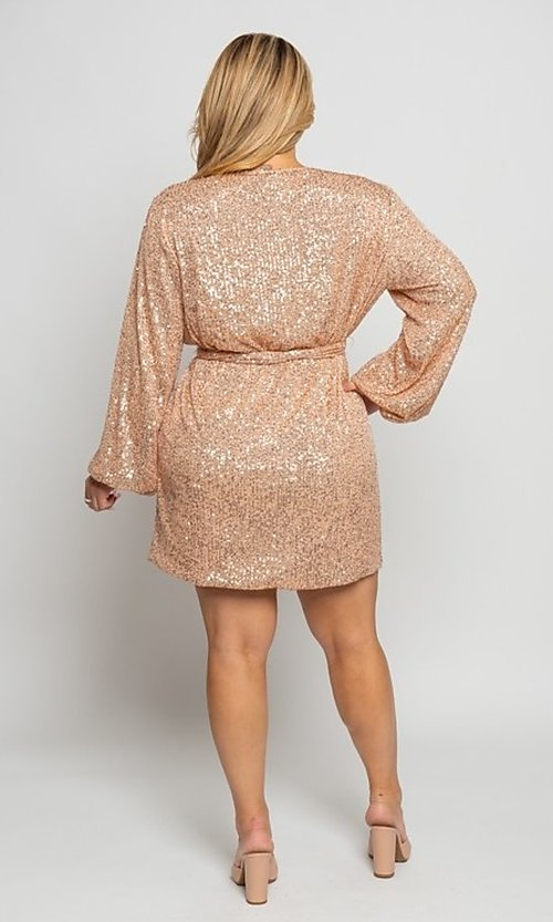 Image of plus-size short sequin holiday party dress. Style: FG-CRV-21-50D-072010121 Detail Image 4