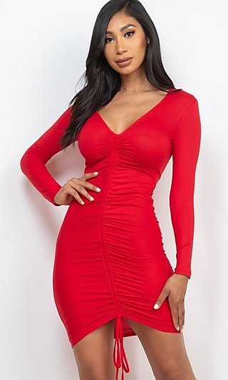 Ruched Drawstring Front Short Party Bodycon Dress