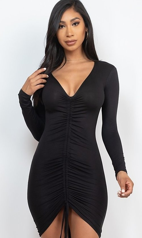 Image of tight sexy long-sleeve short cocktail party dress. Style: LAS-CAP-21-BD3332-O Back Image