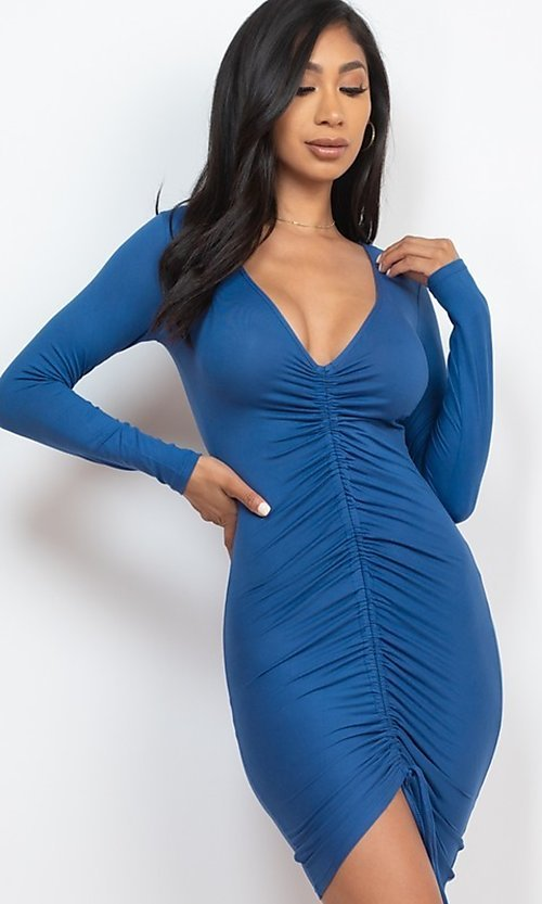 Image of tight sexy long-sleeve short cocktail party dress. Style: LAS-CAP-21-BD3332-O Detail Image 1