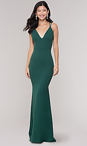 Image of open-back v-neck simple long green formal dress. Style: LAS-SY-21-IDM6119APR Front Image