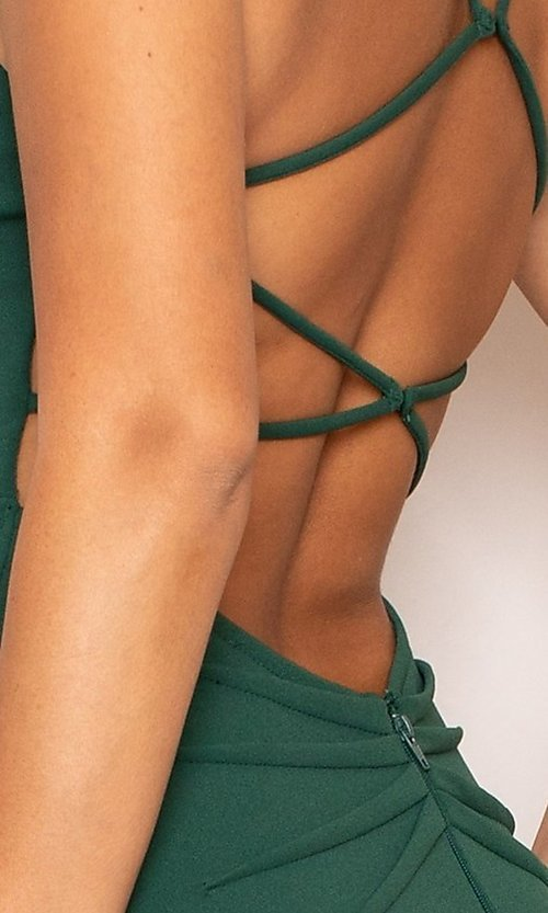 Image of open-back v-neck simple long green formal dress. Style: LAS-SY-21-IDM6119APR Detail Image 1