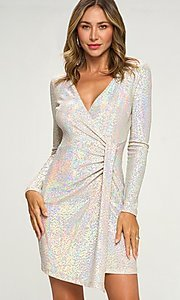 Image of silver sequin short party dress with long sleeves. Style: LAS-LOV-21-ND2439H Front Image