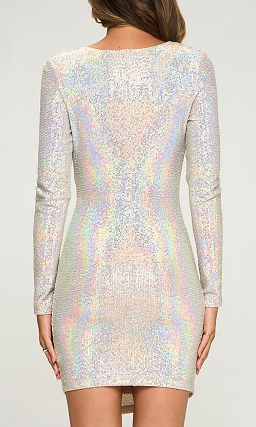 Image of silver sequin short party dress with long sleeves. Style: LAS-LOV-21-ND2439H Back Image