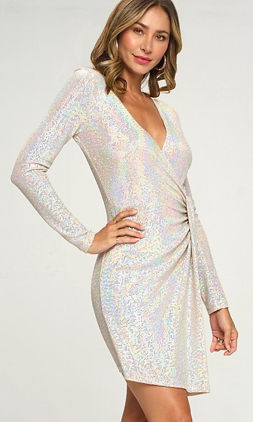 Image of silver sequin short party dress with long sleeves. Style: LAS-LOV-21-ND2439H Detail Image 1